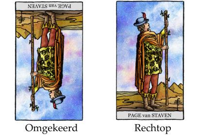 Tarotkaart omgekeerd en tarotkaart rechtop