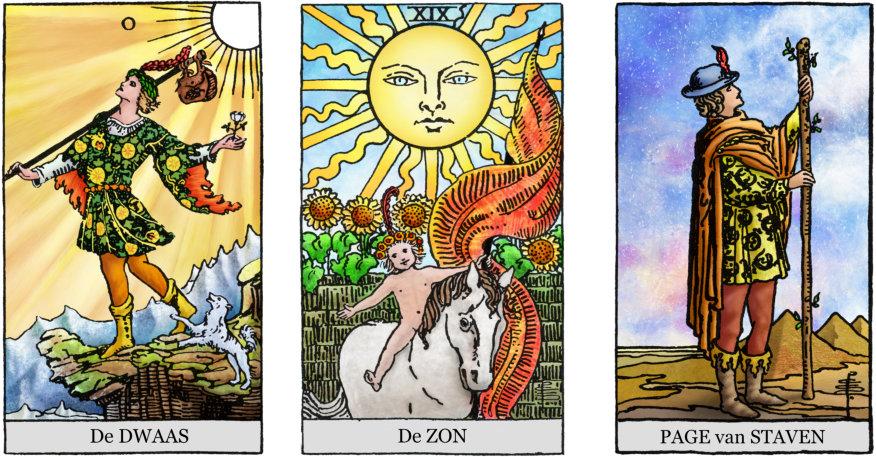 Tarotkaarten De Dwaas, Zon en Schildknaap van Staven