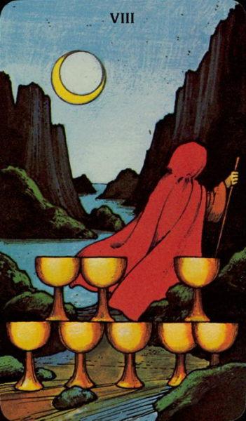 Morgan Greer Tarotkaart Kelken Acht