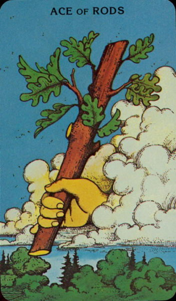 Morgan Greer Tarotkaart Staven Aas
