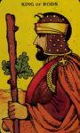 Tarotkaart Staven Koning - Gevoel voor humor