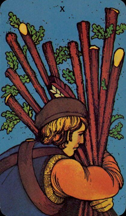 Morgan Greer Tarotkaart Staven Negen