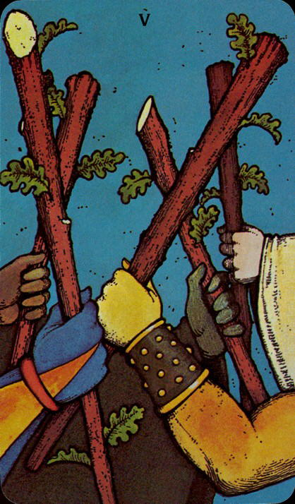 Morgan Greer Tarotkaart Staven Vijf