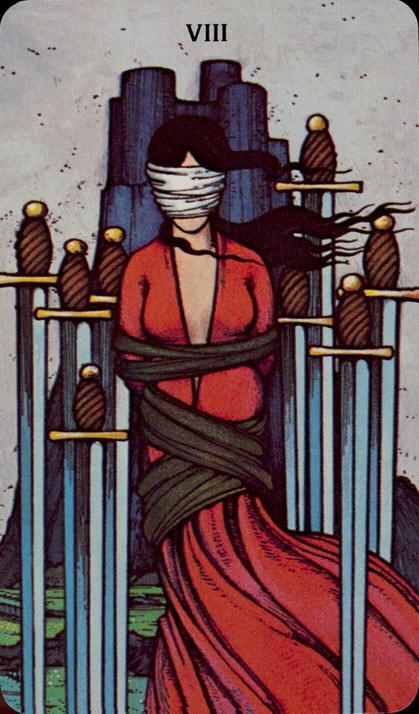 Morgan Greer Tarotkaart Zwaarden Acht