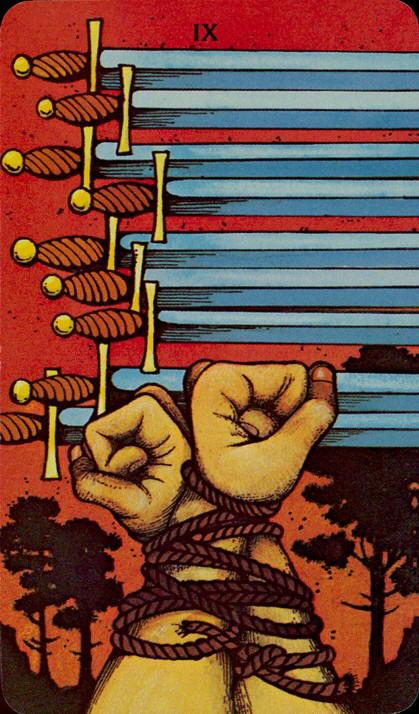 Morgan Greer Tarotkaart Zwaarden Negen