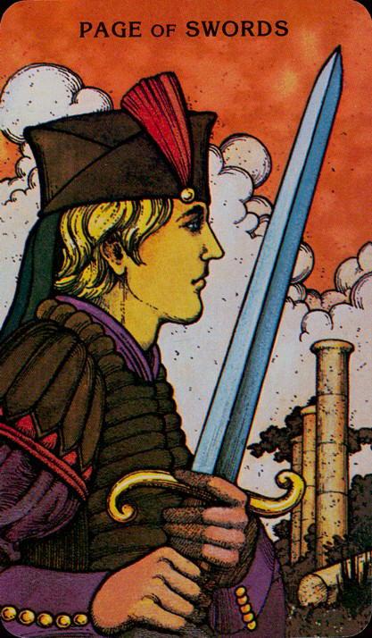 Morgan Greer Tarotkaart Zwaarden Page