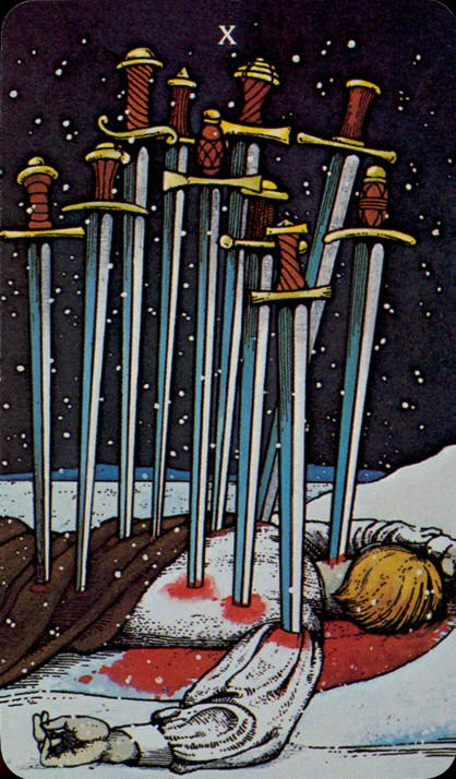 Morgan Greer Tarotkaart Zwaarden Tien