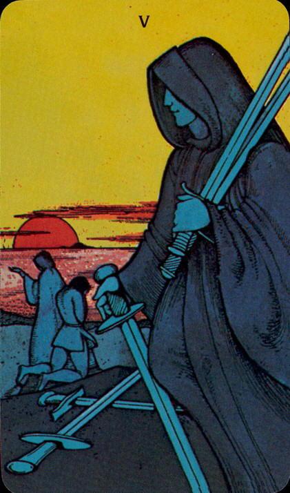 Morgan Greer Tarotkaart Zwaarden Vijf