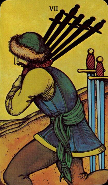 Morgan Greer Tarotkaart Zwaarden Zeven