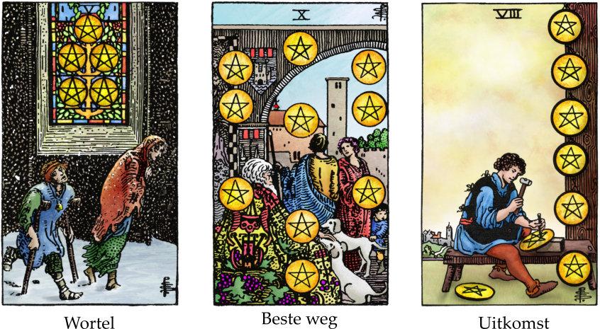 tarotkaarten pentakels 5, 10 en 8