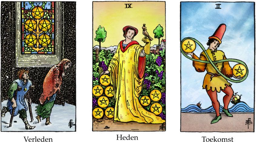 tarotkaarten pentakels 5, 9 en 2