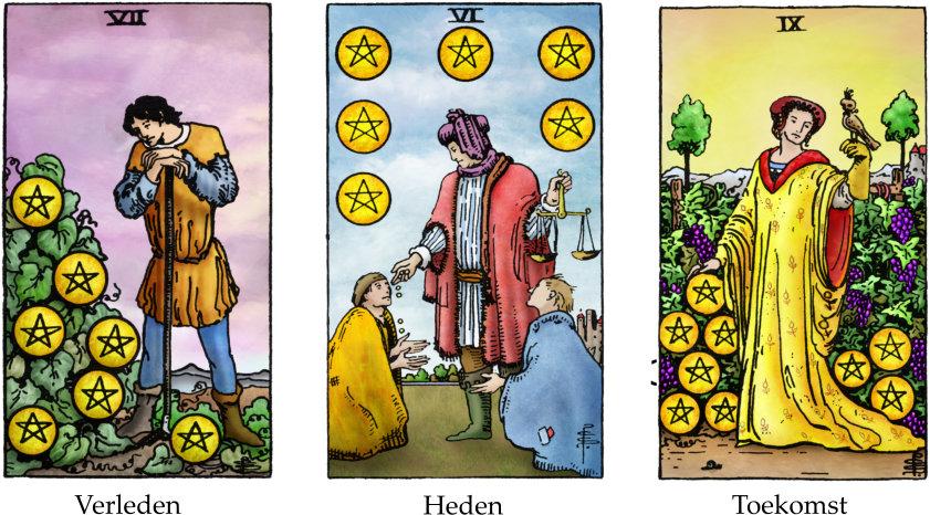 Tarotkaarten Pentakels 8, 6 en 9