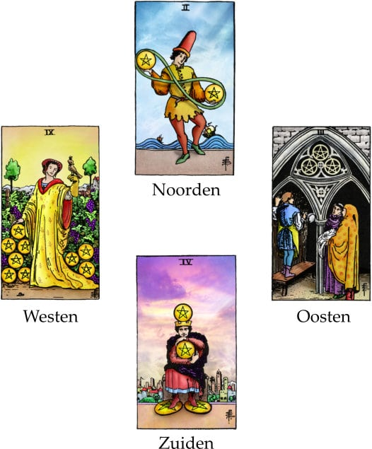 tarotkaarten 4 kaartenlezing met pentakels 2