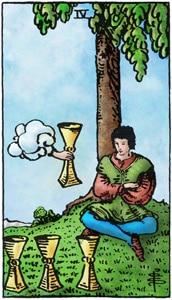 tarotkaart kelken 4, meditatie