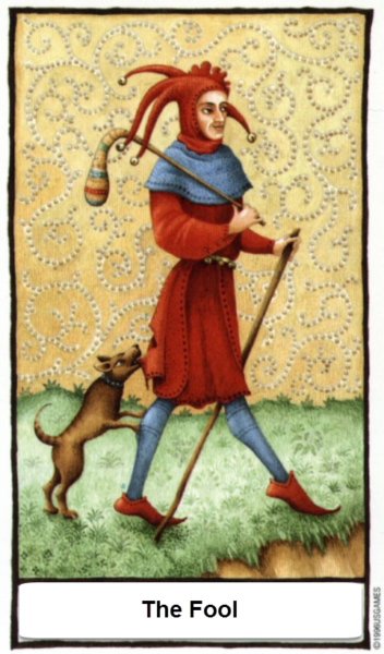 Old English Tarotkaart De Dwaas