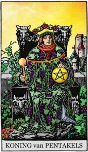 tarotkaart pentakels koning om zelf te kleuren