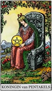 tarotkaarten pentakels koningin houdt van luxe