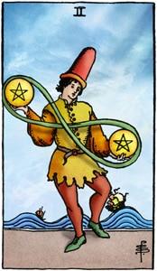 tarotkaart pentakels 2 twee