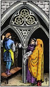tarotkaart pentakels drie