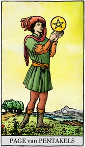 tarotkaart pentakels page schildknaap