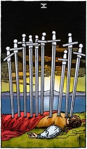 tarotkaart zwaarden 10