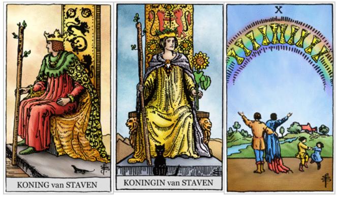De Zon op de Koning van Staven, Koningin van Staven en Kelken 10
