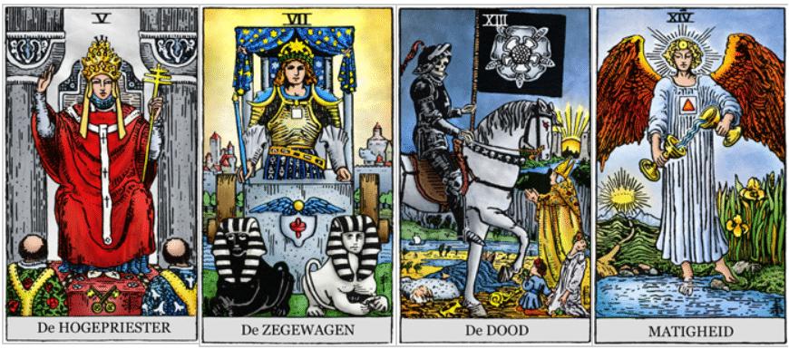 De Zon op de tarotkaarten Hogepriester, Zegewagen, de Dood en Matigheid