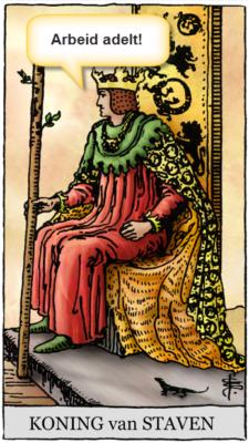 tarotkaart koning staven arbeid adelt