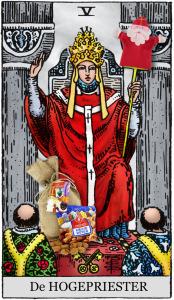 tarotkaart de hogepriester speelt voor sinterklaas