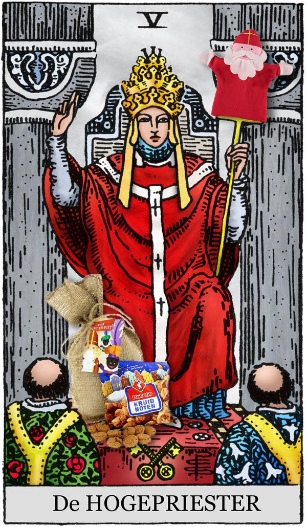 sinterklaas tarotlegpatroon gebaseerd op tarotkaart De Hogepriester