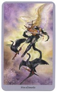shadowscapes tarot zwaarden vijf zwarte zwanen
