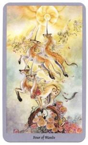 shadowscapes tarotkaart staven vier met eenhoorns