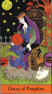 halloween tarot queen of pumpkins