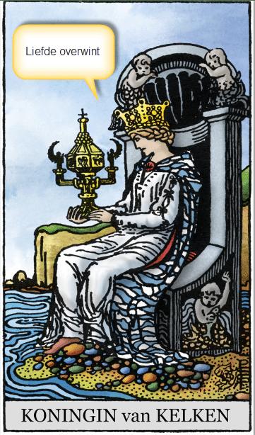 tarotkaart koningin kelken lijfspreuk