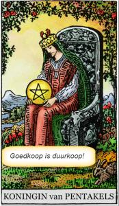 koningin pentakels tarotkaart motto