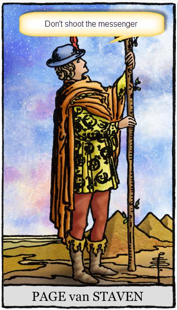 tarotkaart staven page motto