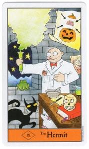 tarotkaart halloween kluizenaar is de gekke geleerde