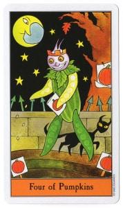 tarotkaart pompoenen 4 nu is het tijd om te zaaien staat centraal
