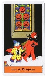 tarotkaart pumpkins 5 je hebt je snoep laten vallen maar om de hoek kun je nog veel meer krijgen