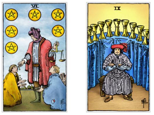 Caproen en Tarotkaarten pentakels 6 en kelken 9