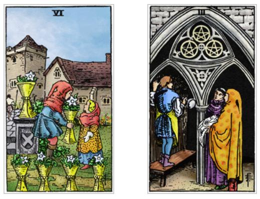 caproen tarotkaarten kelken 6 en pentakels 3