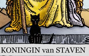 halloween zwarte kat tarot koningin van staven