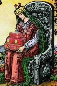 tarot pentakels koningin met geschenken