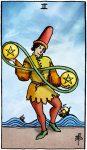 tarotkaart pentakels 2 klein