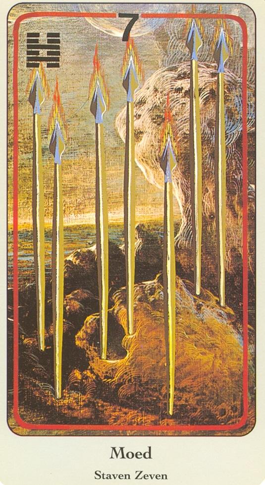Haindl Tarotkaart Staven Zeven