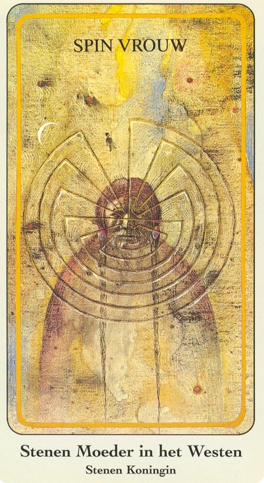 Haindl Tarotkaart Stenen Moeder in het Westen (Spin Vrouw, Stenen Koningin)