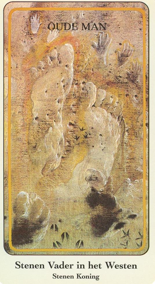 Haindl Tarotkaart Stenen Vader in het Westen (Stenen Koning)