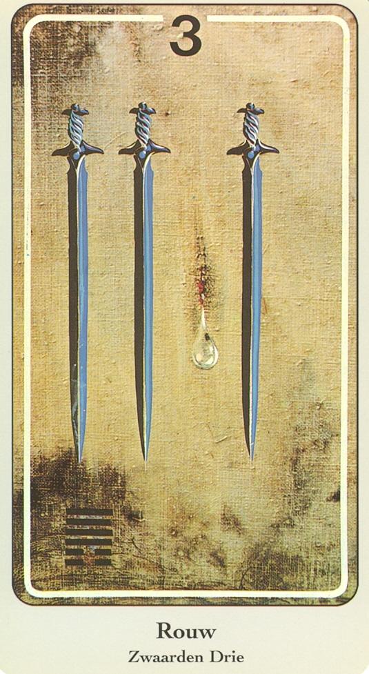 Haindl Tarotkaart Zwaarden 3, Rouw
