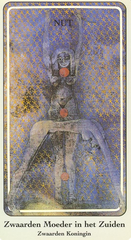 Haindl Tarotkaart Zwaarden Moeder in het Zuiden (Zwaarden Koningin)