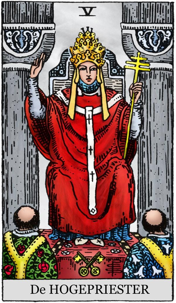 Rider Waite Tarotkaart De Hogepriester